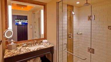 tv in bathroom mirror at River City Casino Hotel