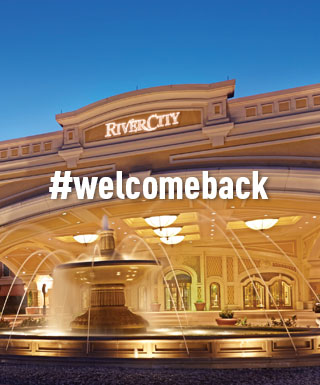 "River City property exterior with text ""#welcomeback"""