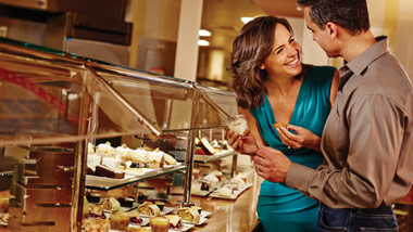 couple at dessert station